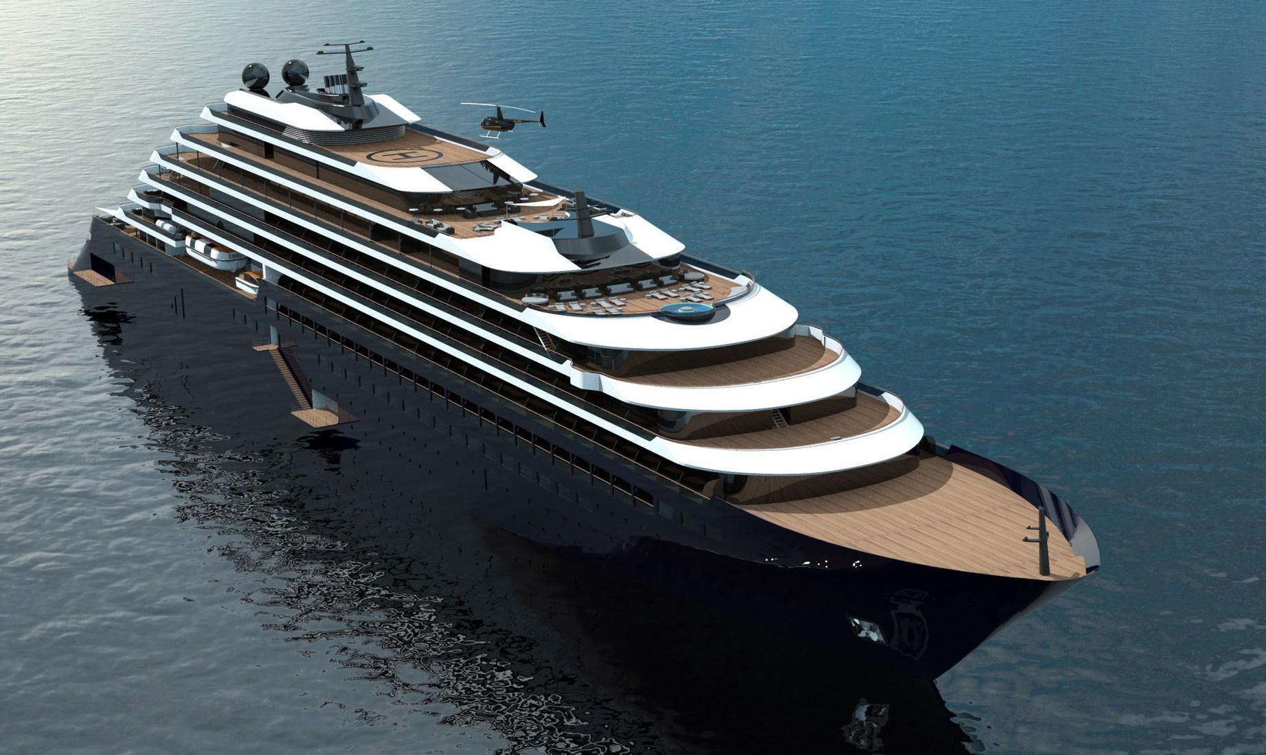 Det første superluksus-krydstogtskib til Ritz-Carlton Yacht Collection er blevet mindst fire måneder forsinket – skal efter planen blandt andet besøge Københavns Havn næste år. Illustration: Ritz-Carlton Yacht Collection.