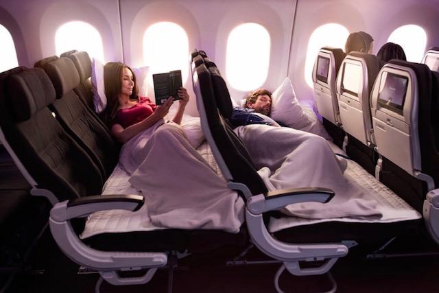 Air New Zealand har endnu ikke frigivet fotos af, hvordan selskabets kommende nye Economy Stretch kommer til at se ud. Tidligere i år kom selskabet med en anden opgradering på economy på sine langruter, Economy Skycouch, der kan omdannes til en lille seng – på økonomiklasse. Foto: Air New Zealand.