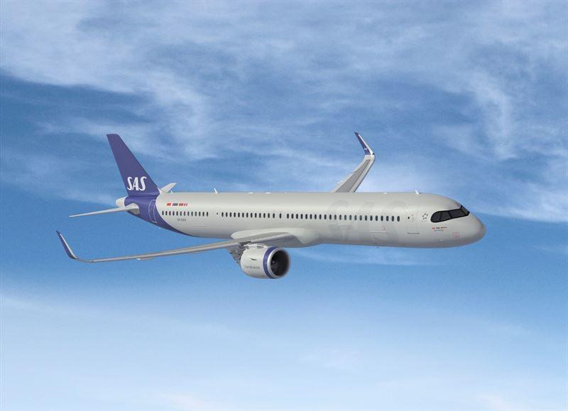 Airbus A321LR i nye SAS-farver. (Foto: SAS AB)
