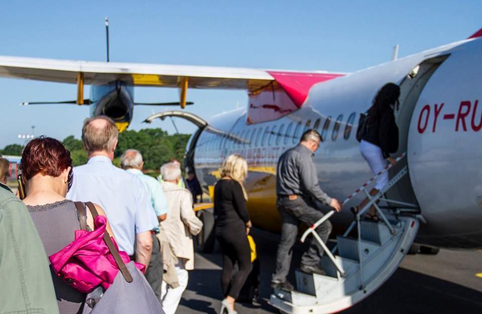 Danish Air Transport vil fra starten af juli til starten af august næste år flyve to gange om ugen mellem Bornholm og Berlin. Pressefoto: DAT, Bornholmerflyet.