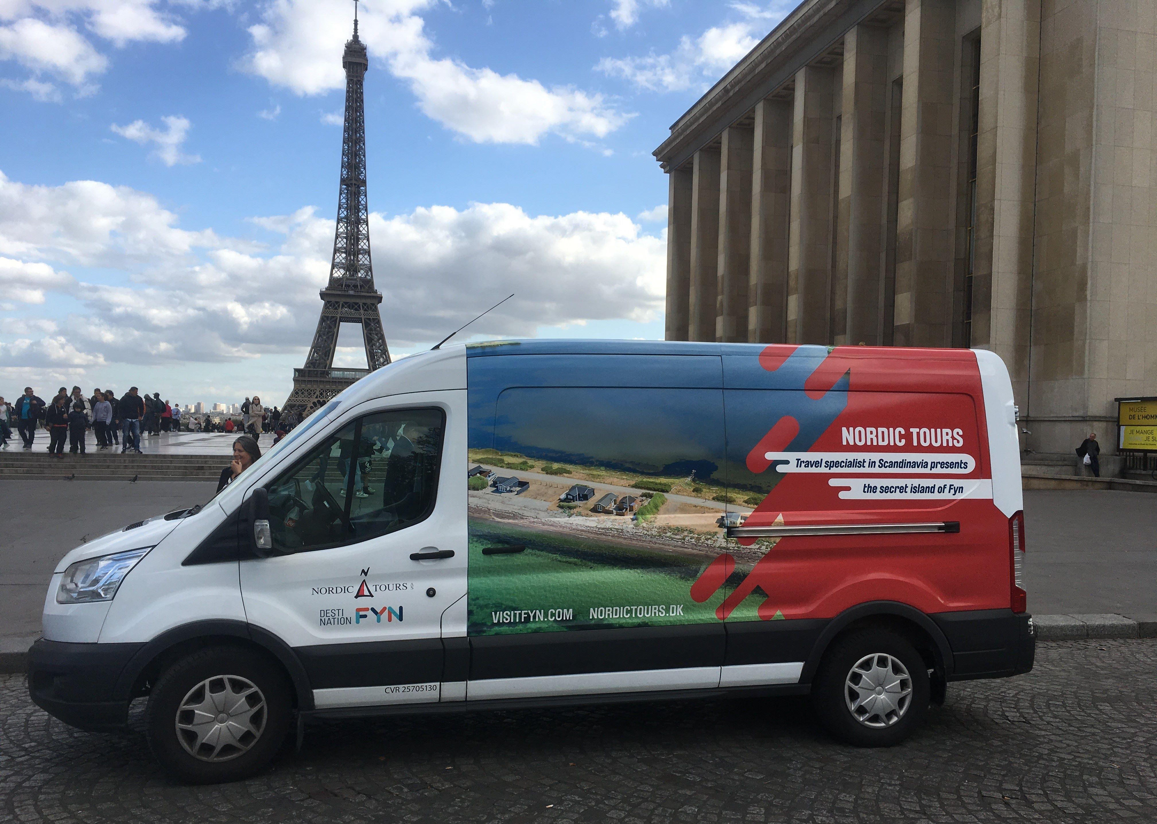 Nordic Tours havde sidste efterår en Ford Transit på besøg hos blandt andet franske rejsebureauer for at inspirere dem til at sende gæster til Fyn. Foto: Nordic Tours.