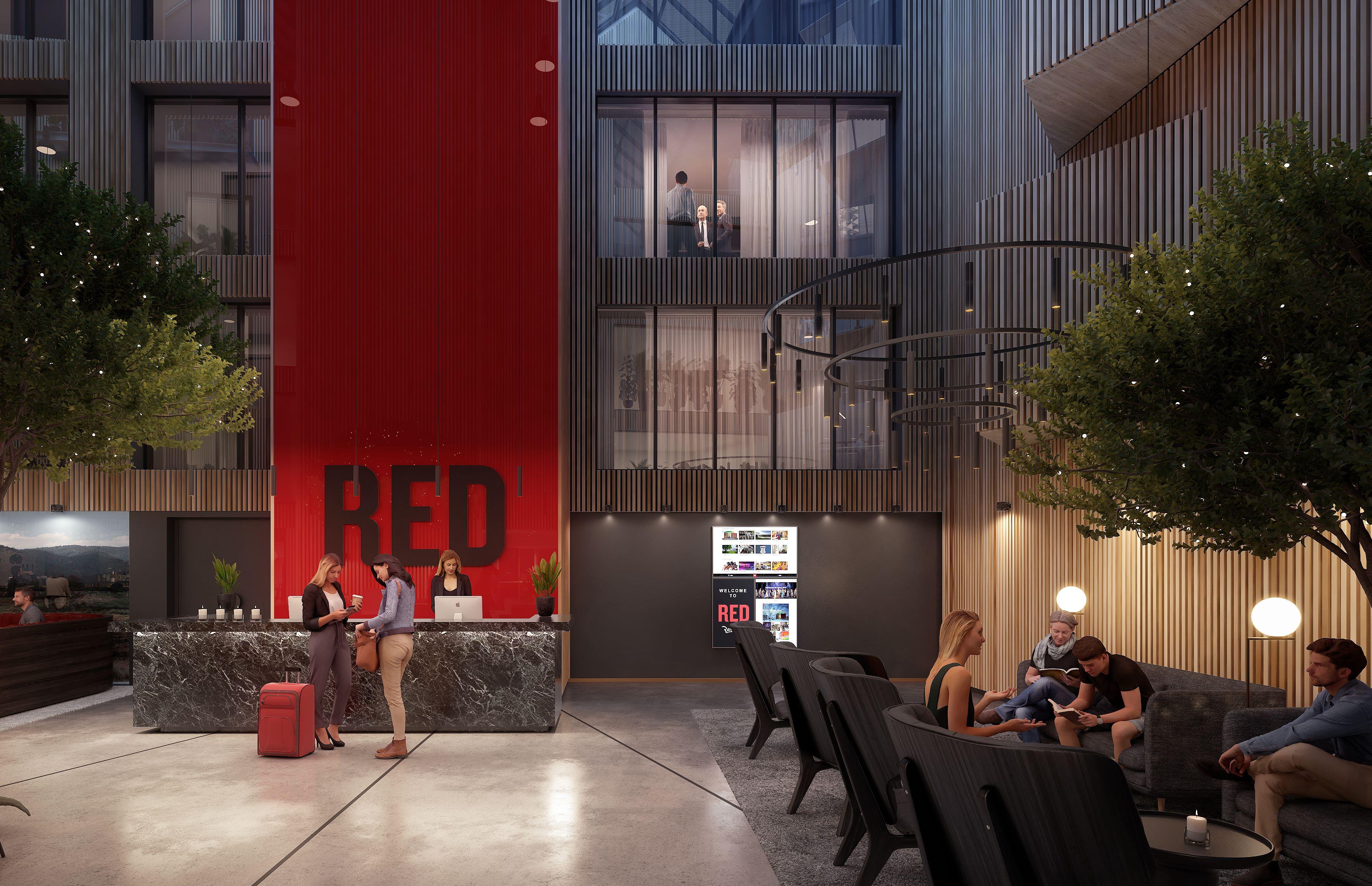 Det kommende Radisson Red-hotel i Aarhus får 78 værelser, møde- og event-faciliteter, fitnesscenter og restaurant. Det åbner i erhvervs- og boligbyggeriet Rådhusgården i det centrale Aarhus med byens rådhus som genbo. Illustration fra Radisson Hotel Group.