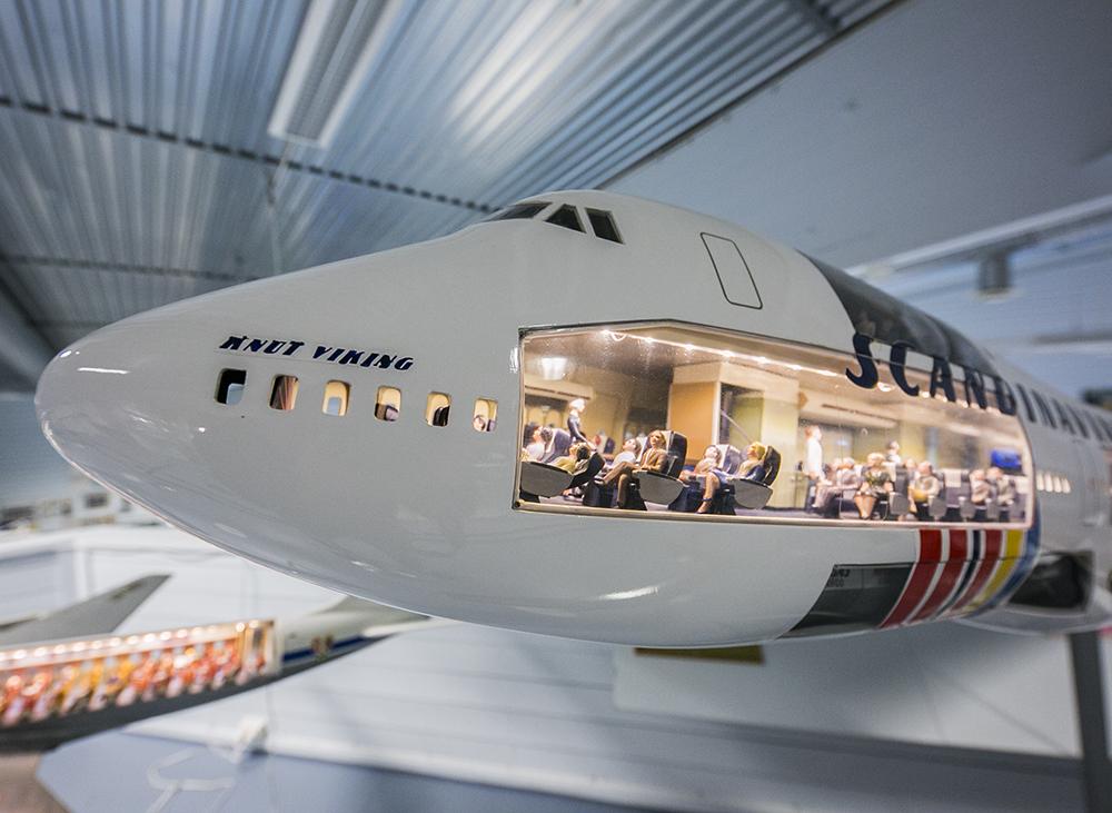 SAS-museet tæt på Oslos Gardermoen har blandt andet denne kæmpemodel af en af SAS' Boeing B747-modeller. Foto: SAS Museet, Gardermoen.