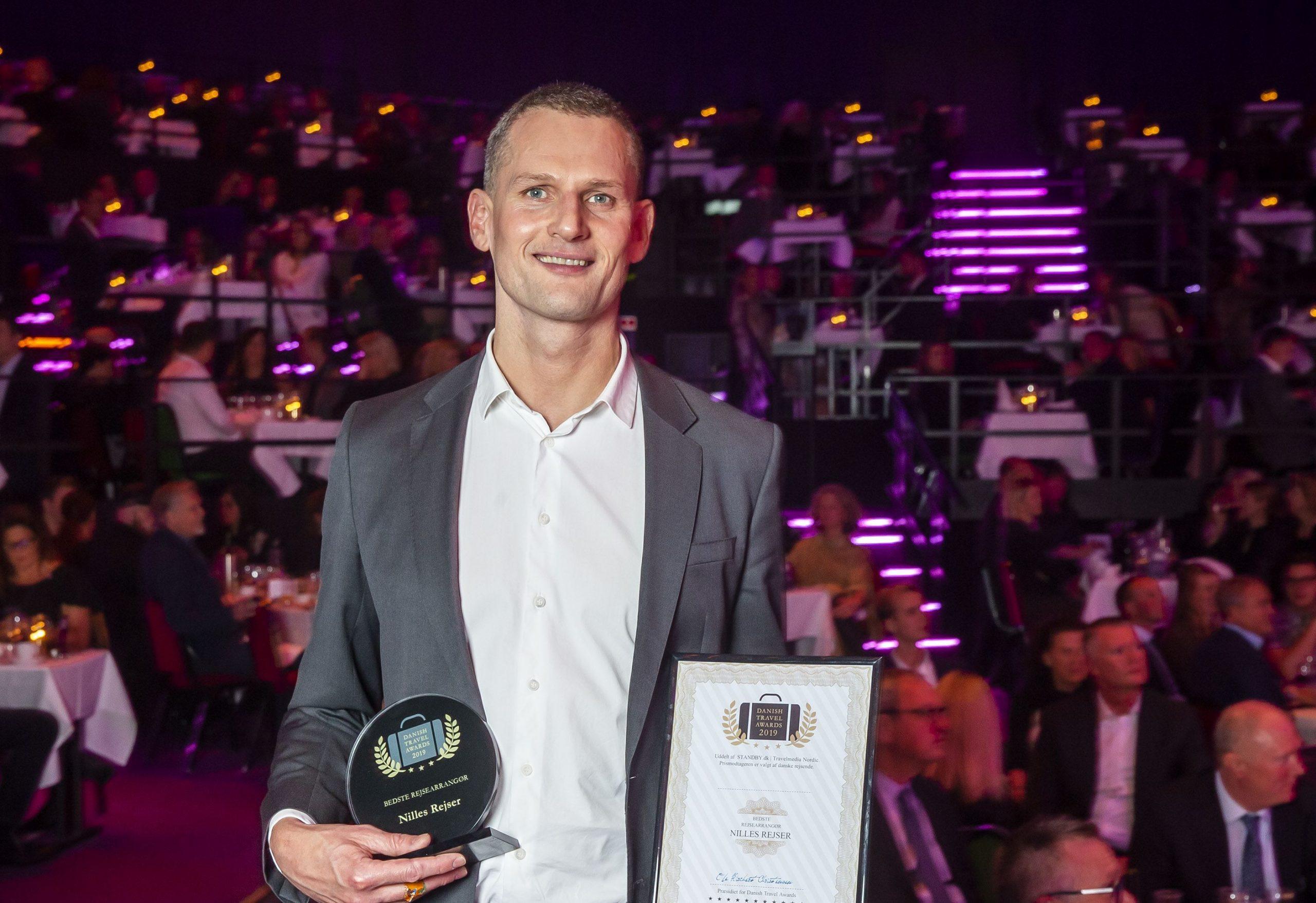 Morten Aaberg Sørensen, administrerende direktør for Aller Leisure, ved årets Danish Travel Awards 2019, hvor Nilles Rejser, et af Aller-bureauerne, vandt som Bedste Rejsearrangør. (Foto: Michael Stub)