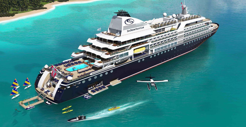 SeaDream Innovation skulle have været klar med og plads til 220 passagerer i slutningen af 2021 – men nu er planerne lagt på køl. Illustration: SeaDream Yacht Club.