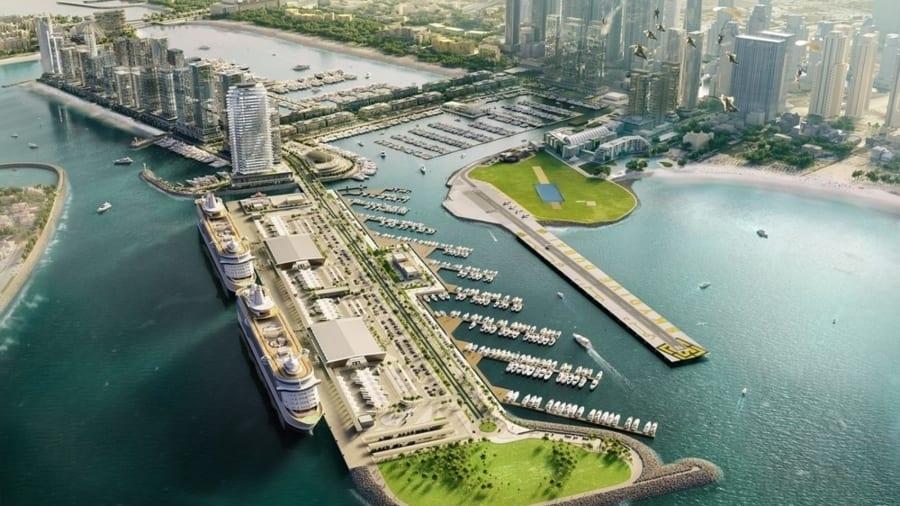 Næste år åbner det store Dubai Harbour-projekt, der ifølge bygherren, Meraas, vil kunne håndtere to af de største krydstogtskibe på samme tid. Illustration: Dubai Harbour, Meraas.