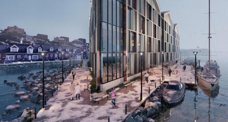 Arkitekttegning af det planlagte luksushotel i Nuuk: Berjay Land Berhad via Sermitsiaq.gl