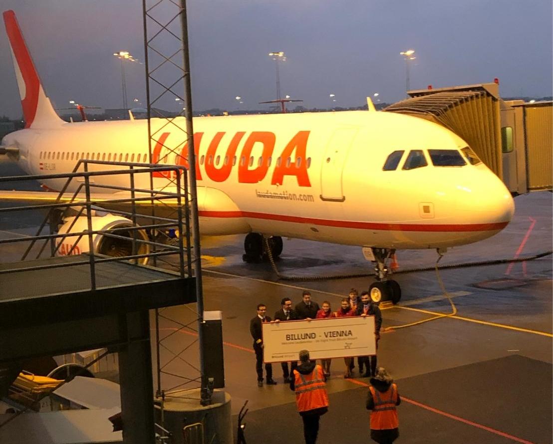 Det første fly fra Lauda i Billund Lufthavn. Foto: Billund Lufthavn,