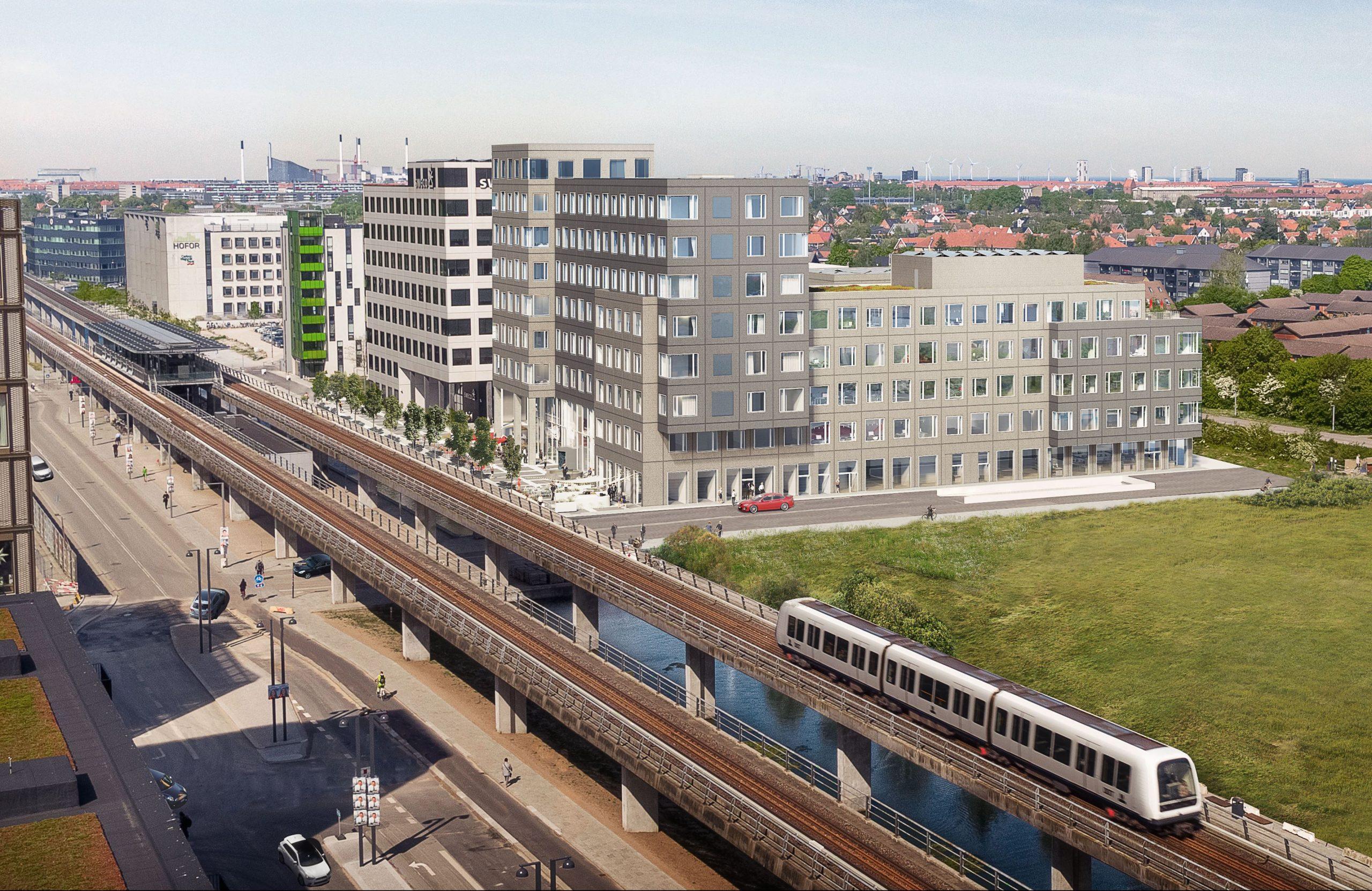 I 2022 står byggeriet forrest i illustrationen klar i Ørestad med blandt andet et 186 værelser stort Ibis-hotel, et af Accor-koncernens mange varemærker. Illustration: Skanska.