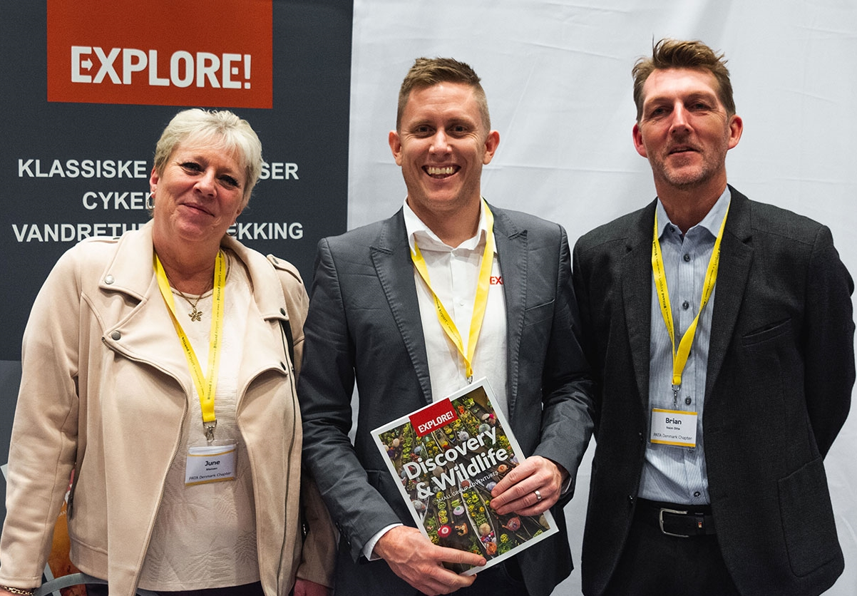 Ejerne af det danske rejsebureau InterTravel, June Nielsen og Brian Holm Otte, til højre, der nu er blevet skandinavisk agent for britiske Explore med Ben Ittensohn, global salgsdirektør hos Explore. PR-foto.