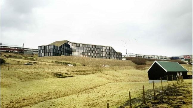 PR-illustration af det kommende Hilton Garden Inn tæt på Torshavn. Hotellet har 130 værelser, 48 king-dobbeltværelser og 23 queen-dobbeltværelser, 50 twin-værelser, otte handicapværelser samt én suite.