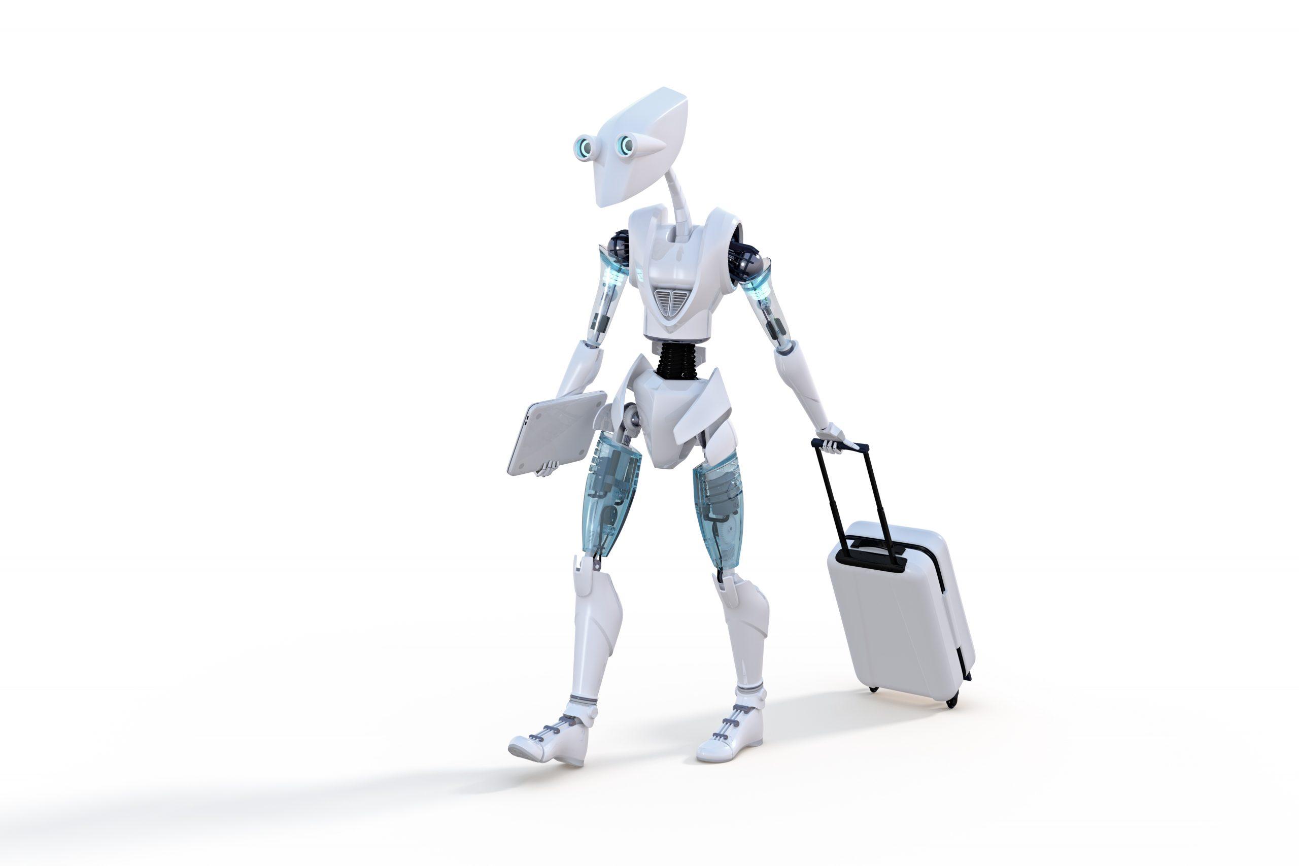 Robotter i lufthavne og på hoteller kan forbedre forretningsrejseoplevelsen. Disse er blandt de tendenser, der fremhæves i BCD Travels fremtidsanalyse for 2020 og frem. Illustration: BCD Travel.