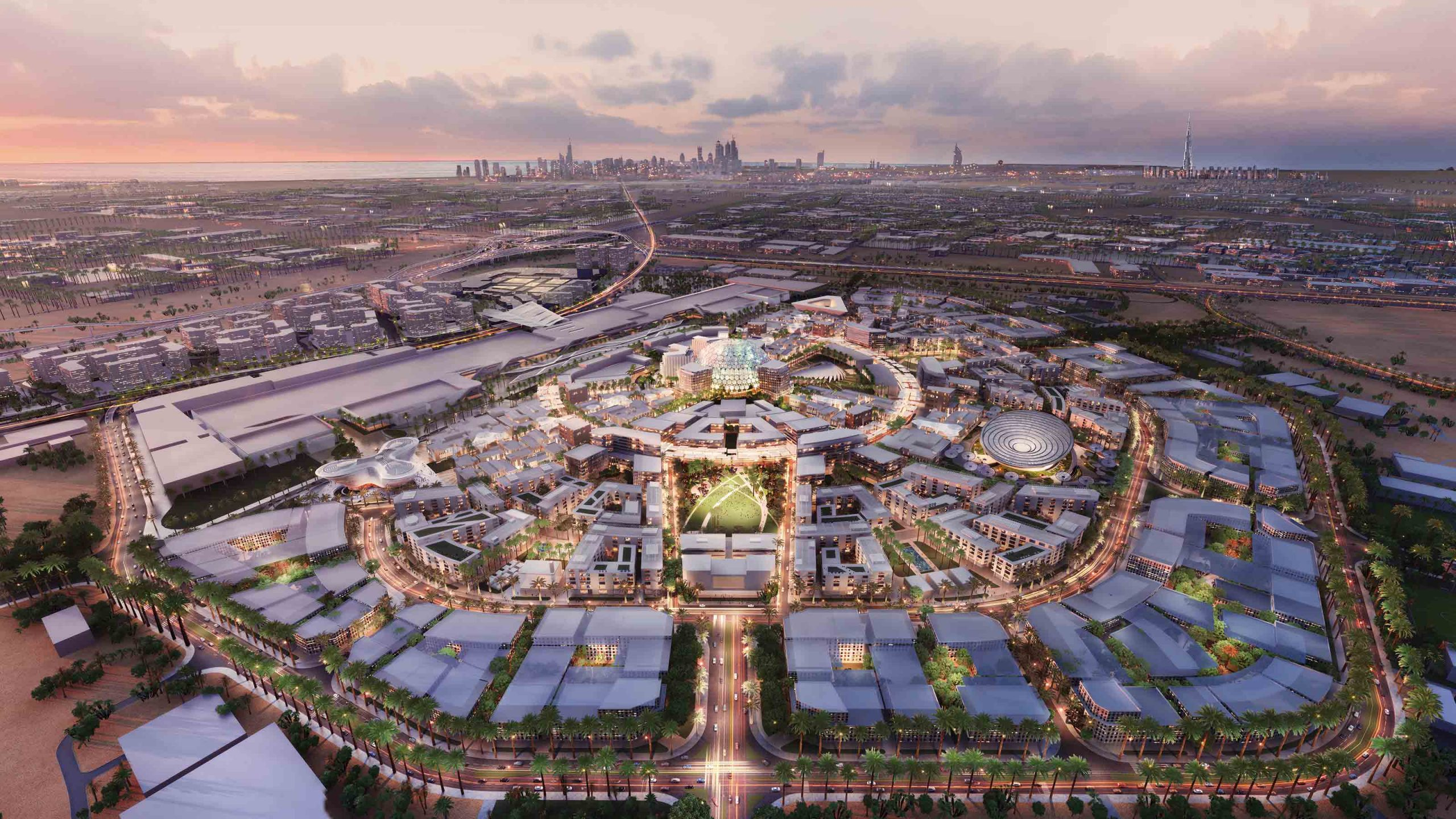 En illustration af noget af udstillingsarealet ved Expo 2020, der fra oktober i år til april næste år holdes i Dubai. Illustration fra expo2020dubai.com