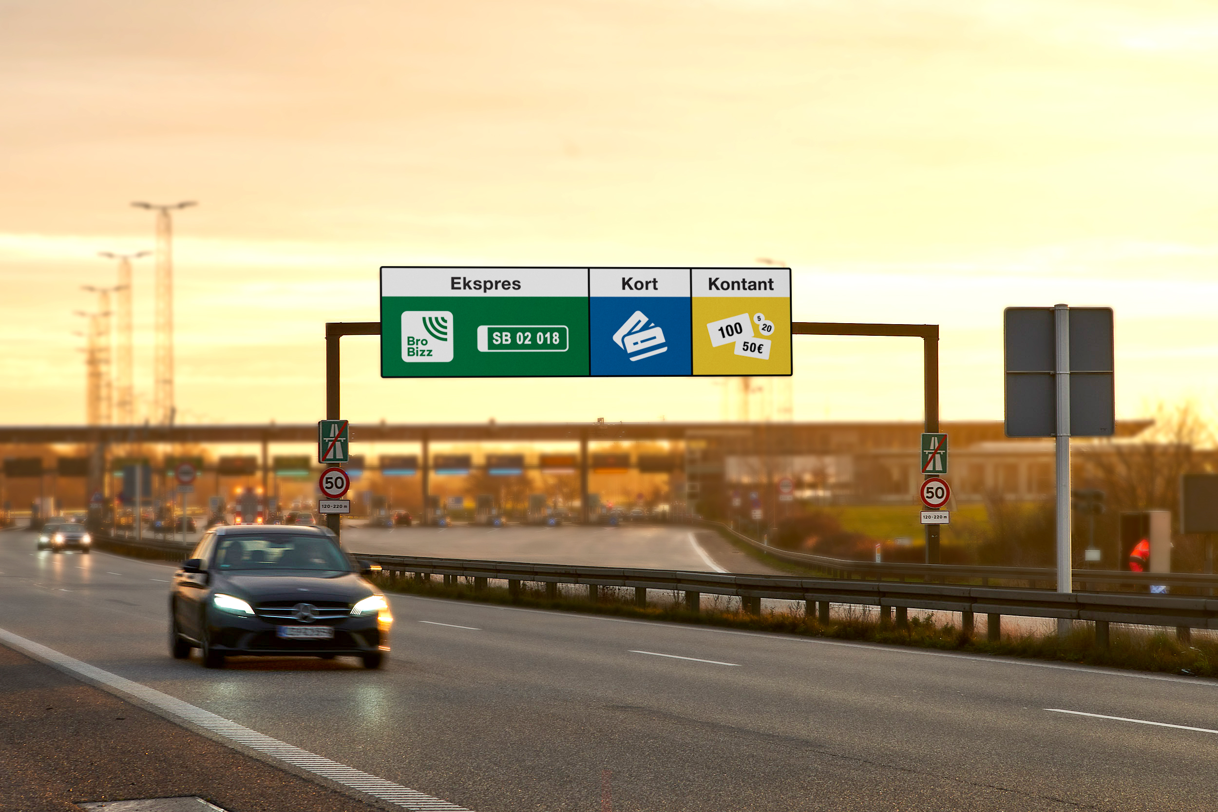 Det nye udstyr i betalingsanlægget ved Storebæltsbroen består blandt andet af et nyt klassifikationssystem, nye kameraer til nummerpladelæsning, nye LED-skilte over vejbanen og nye selvbetjeningsterminaler til kontant- og kortbetaling. Pressefoto fra Sund & Bælt.