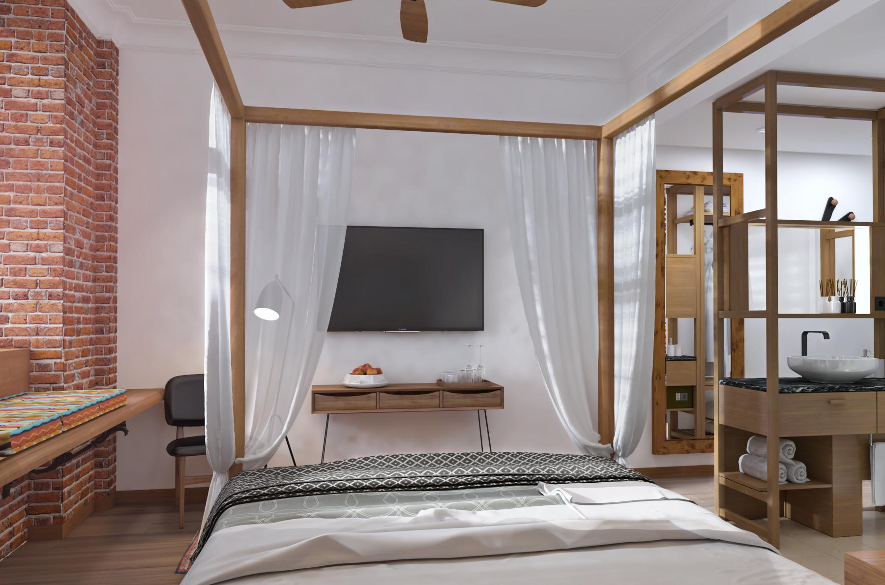 Udover sine 210 værelser får det kommende Guldsmed-hotel på Islands Brygge blandt andet også en gårdhave med træer og buske, to mindre konferencerum, en udendørs pool samt sauna og steam. Illustration via Guldsmeden Hotels.
