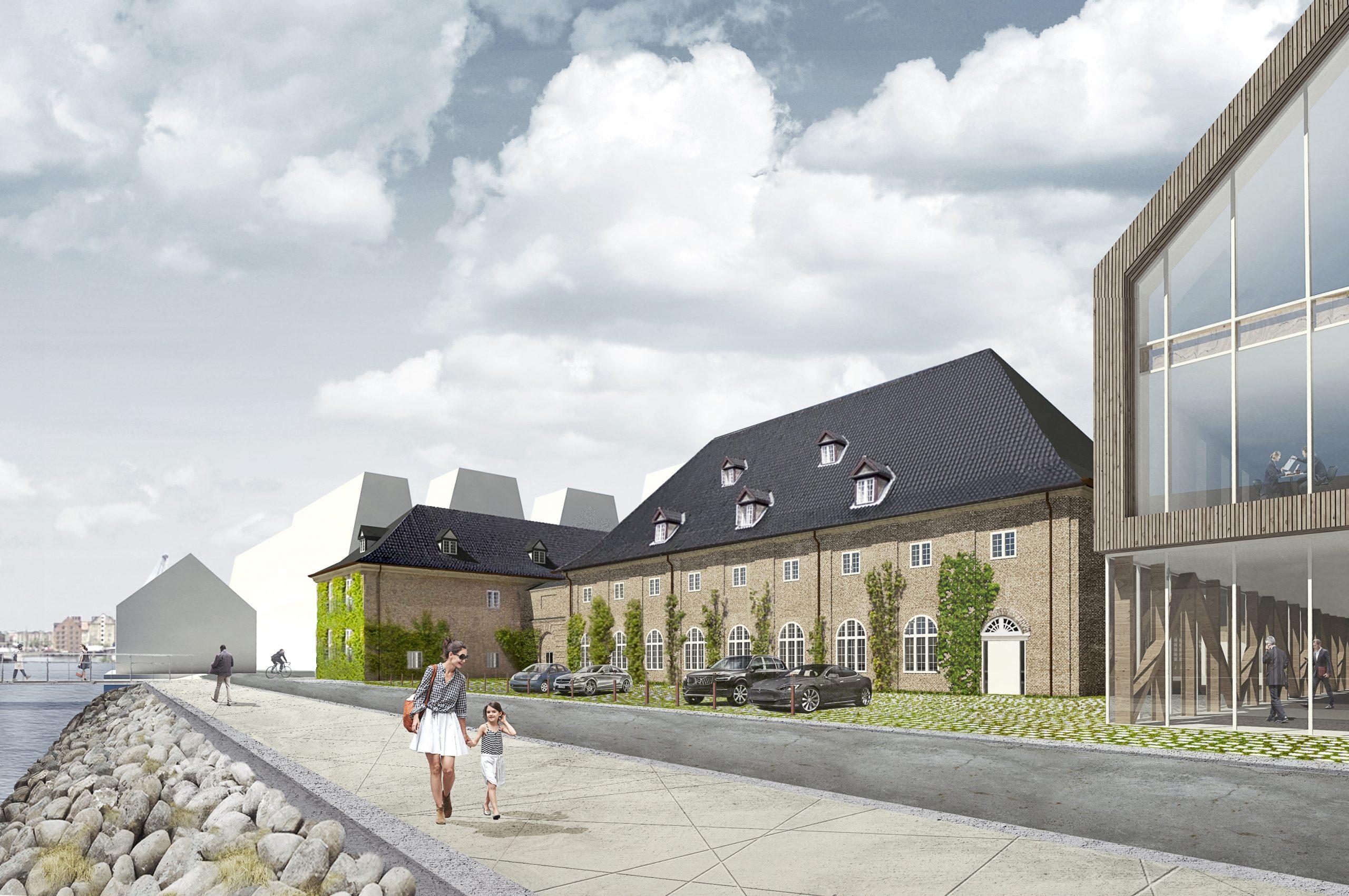København får i vinteren 2023 sit næste luksus-designhotel, der skal ligge på Holmen overfor Nyhavn. Hotellet skal delvist være i flådens gamle bygning Kuglegården. Rendering fra Byggeselskab Mogens de Linde.