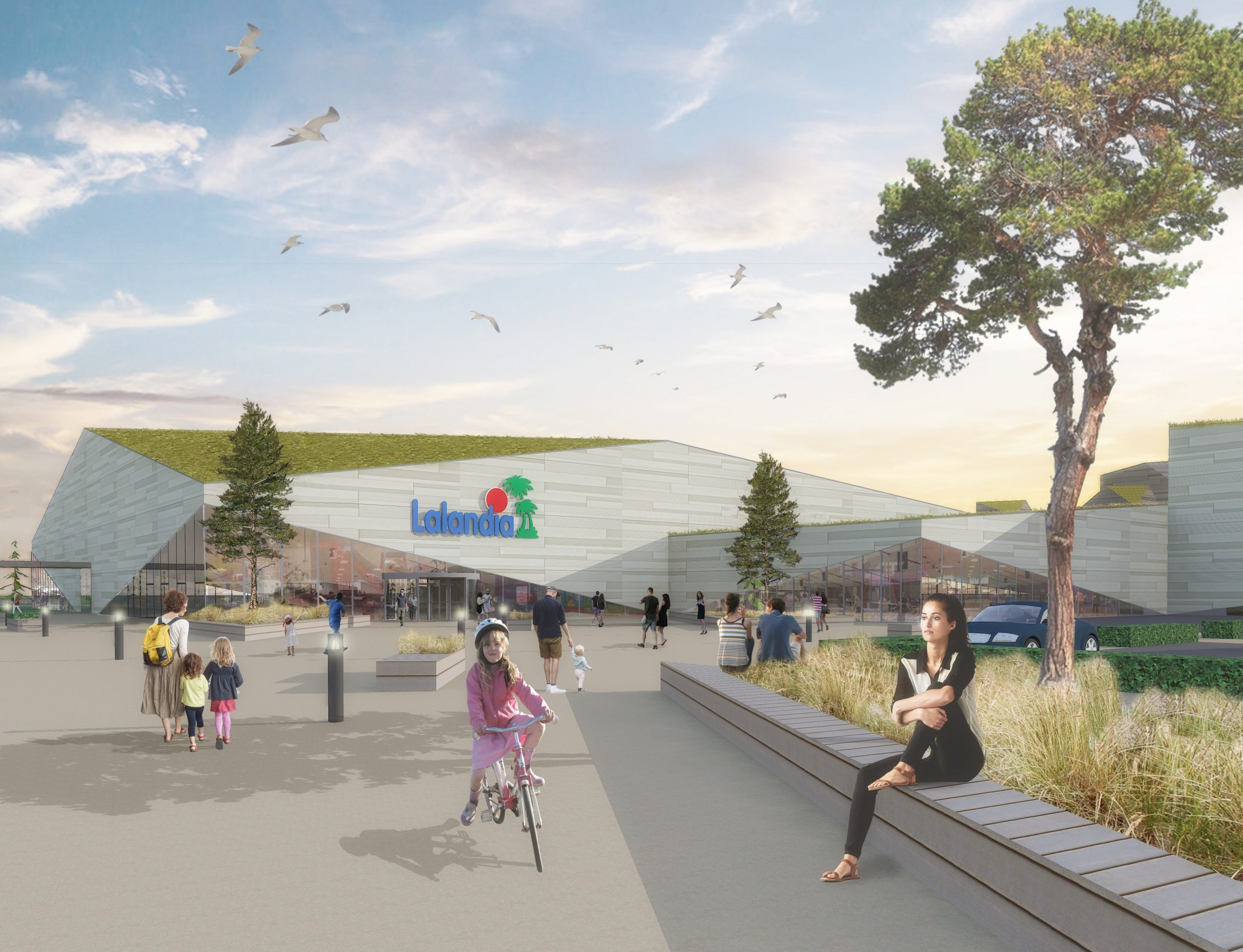 En tegning af hvordan noget af det kommende store Lalandia i Søndervig på den jyske vestkyst kommer til at se ud. Illustration: Parken Sport & Entertainment.