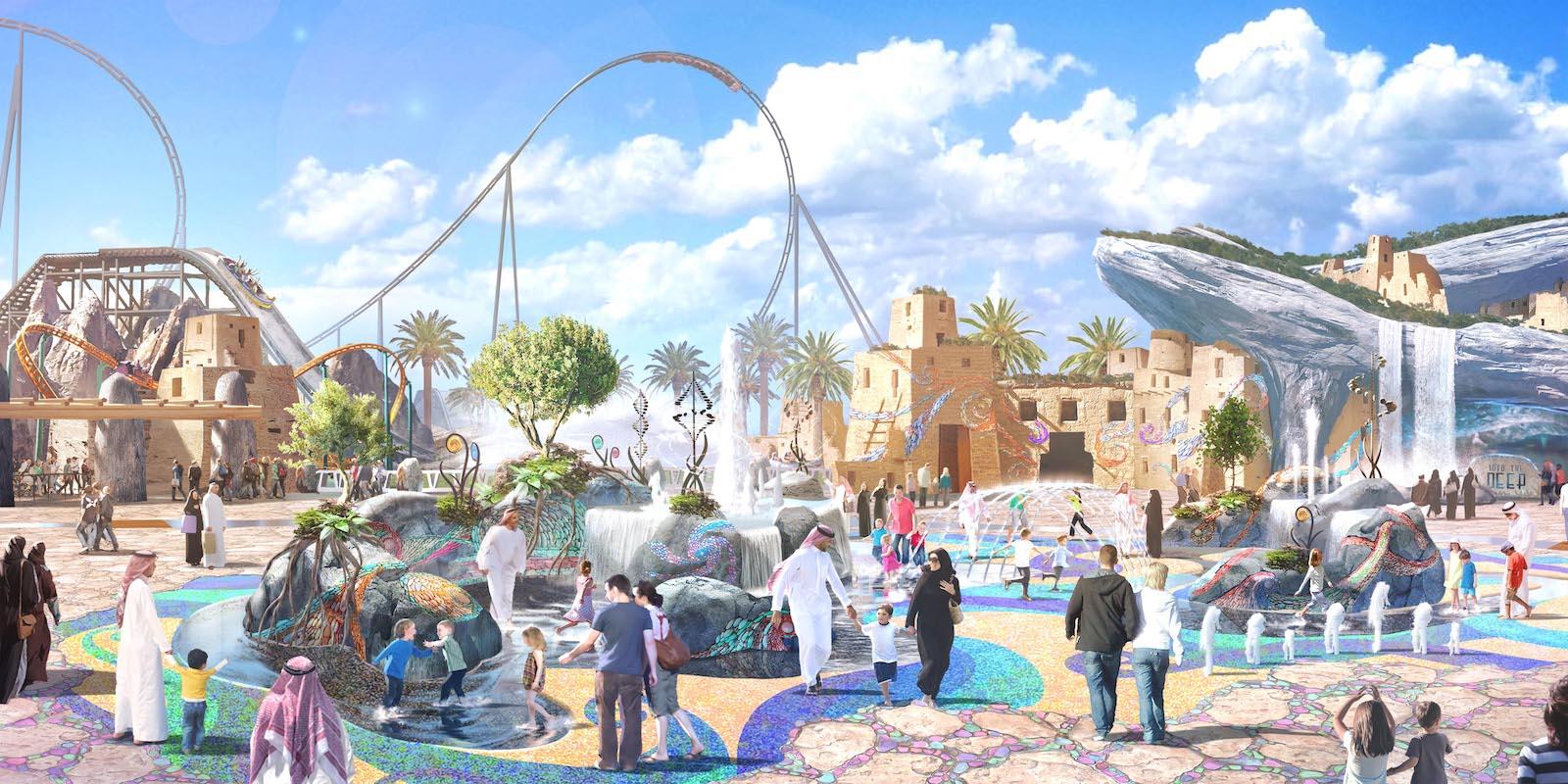 Megaprojektet Qiddiya Entertainment City udenfor Saudi-Arabiens hovedstad, Riyadh, og forventes fuldt udbygget at blive verdens største underholdningsby, 100 procent drevet af grøn energi. Blandt attraktionerne i Qiddiya bliver en kæmpe forlystelsespark. Illustration: Qiddiya Entertainment City.