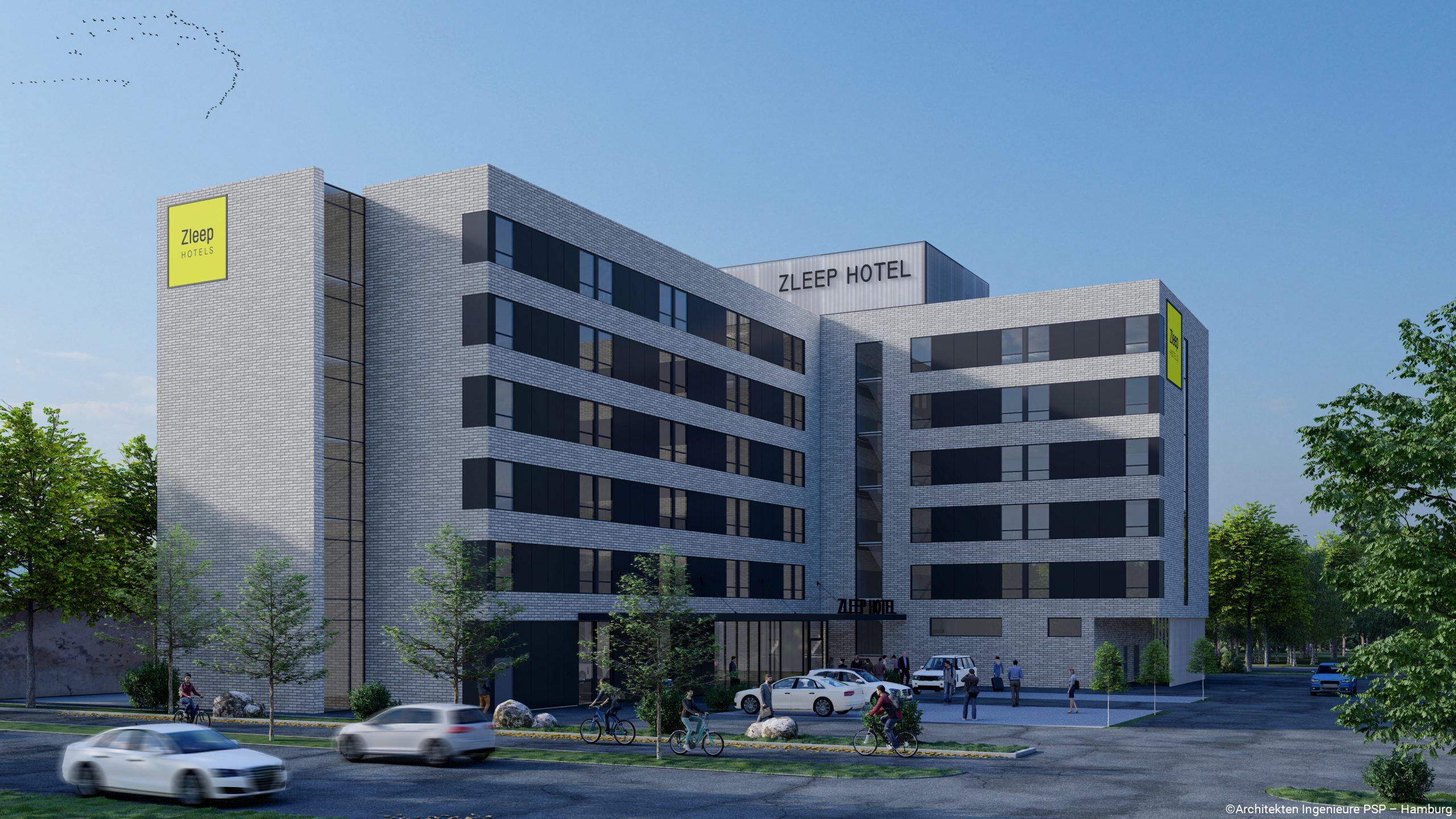 I 2022 kommer åbner dette helt nye Zleep-hotel ved lufthavnen i Frankfurt med 165 værelser. Illustration: Zleep Hotels.