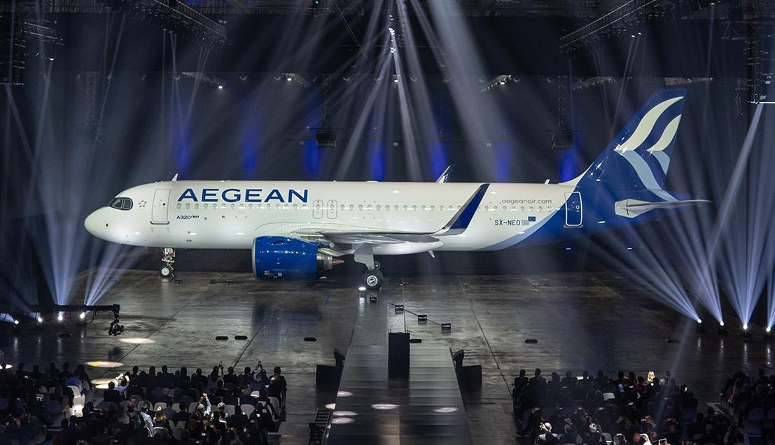 Græske Aegean er begyndt at modtage de første af 46 bestilte fabriksnye Airbus A320/A321neo. Flyene leveres blandt andet i flyselskabets nye bemaling. Pressefoto fra Aegean.