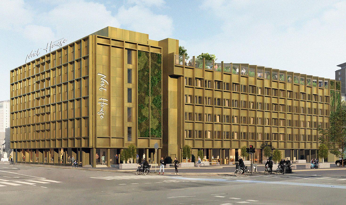 Københavns kommende store hostel, Next House Copenhagen, åbner næste sommer tæt på Tivoli og Hovedbanegården. Facaden bliver helt ny i messing.Bag det nye hostel står Arp-Hansen Hotel Group. PR-illustration.