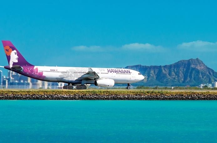 Hawaiian Airlines var igen sidste år mest præcise af USA's ti største flyselskaber. Det har i snit over 240 daglige afgange indenfor øgruppen, til 13 lufthavne i Nordamerika samt til Australien, Japan, New Zealand, Samoa, Sydkorea og Tahiti. Pressefoto fra Hawaiian, Alex Viernes.