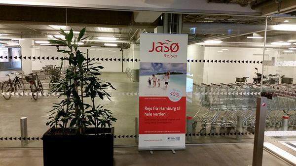 Jasø Rejser markedsførte sig blandt i Borgen Shopping i Sønderborg. (Foto: Jasø Rejser | Twitter)