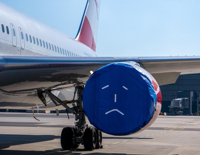 Før coronakrisen havde Austrian Airlines 80 fly på vingerne, nu er de alle parkerede og venter på bedre tider. Pressefoto: Austrian Airlines.