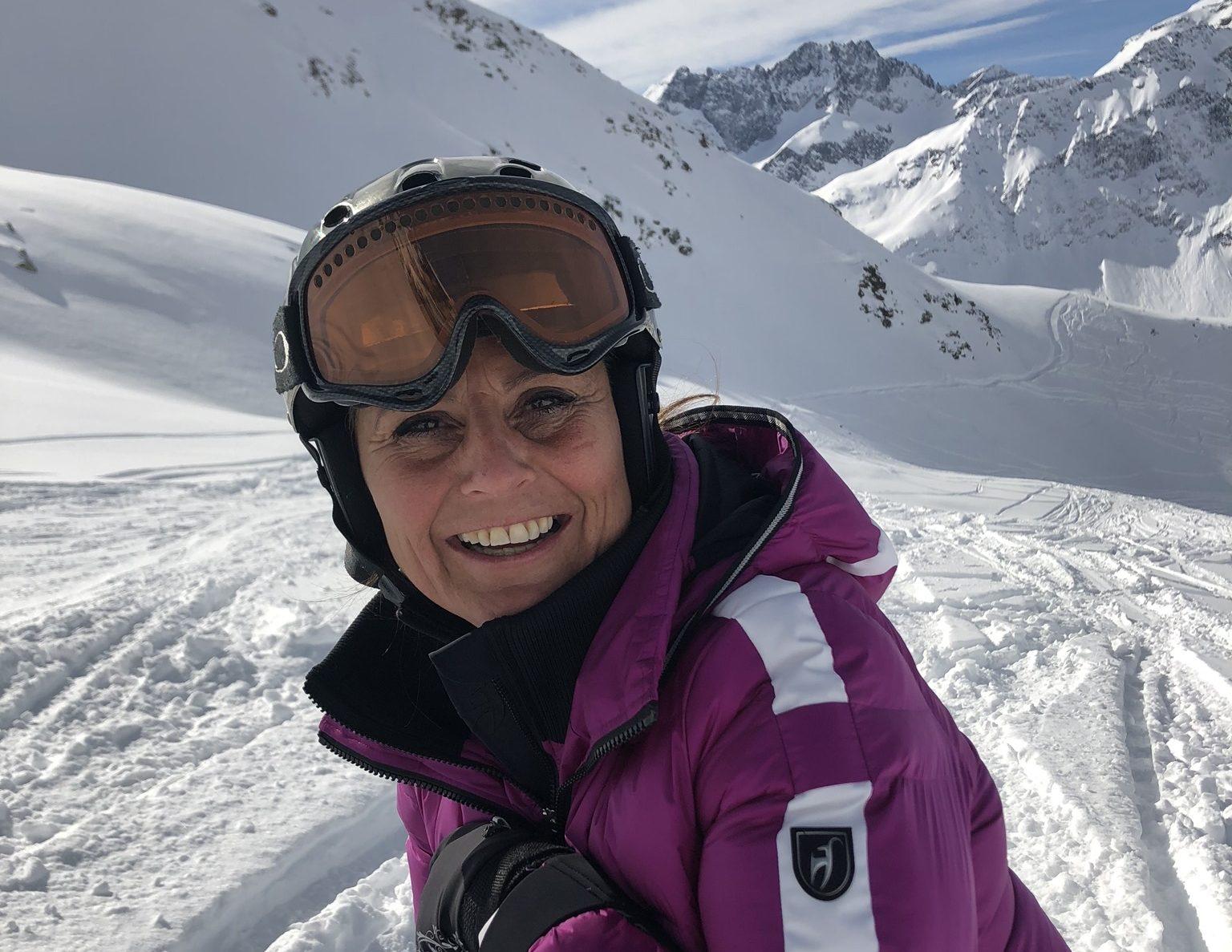 Lisbeth Nedergaard, kommunikationschef hos Spies og Sunclass Airlines, på skiferien i St. Anton i den østrigske del af Tyrol, hvor hun i de dage blev smittet med coronavirussen. Privatfoto.