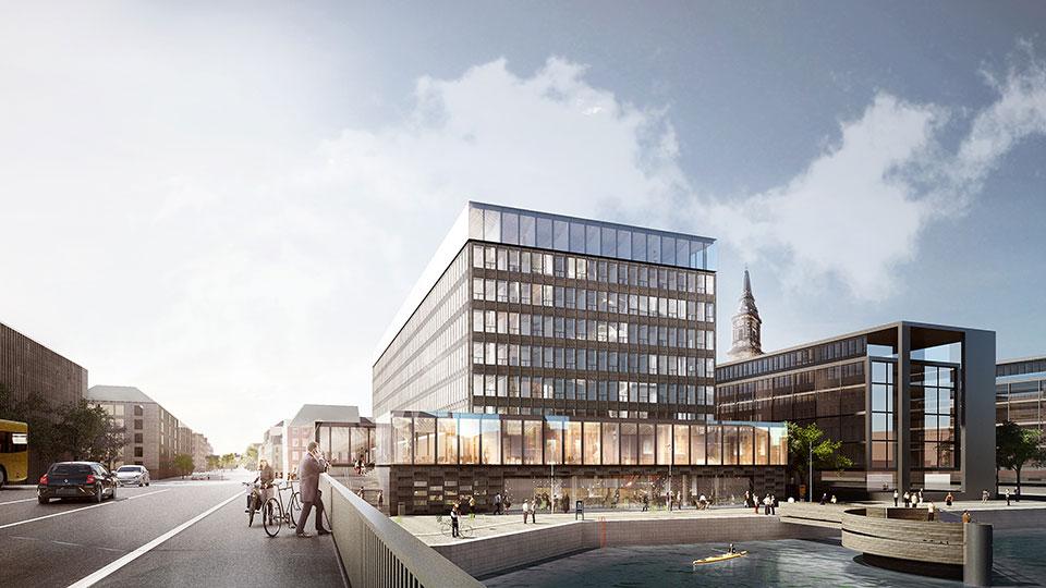 Spanske NH Hotel Group skal fra næste efterår stå for driften det kommende femstjernede hotel i bygningen kendt som Ørkenfortet ved Københavns Havn. Illustration fra ATP Ejendomme.