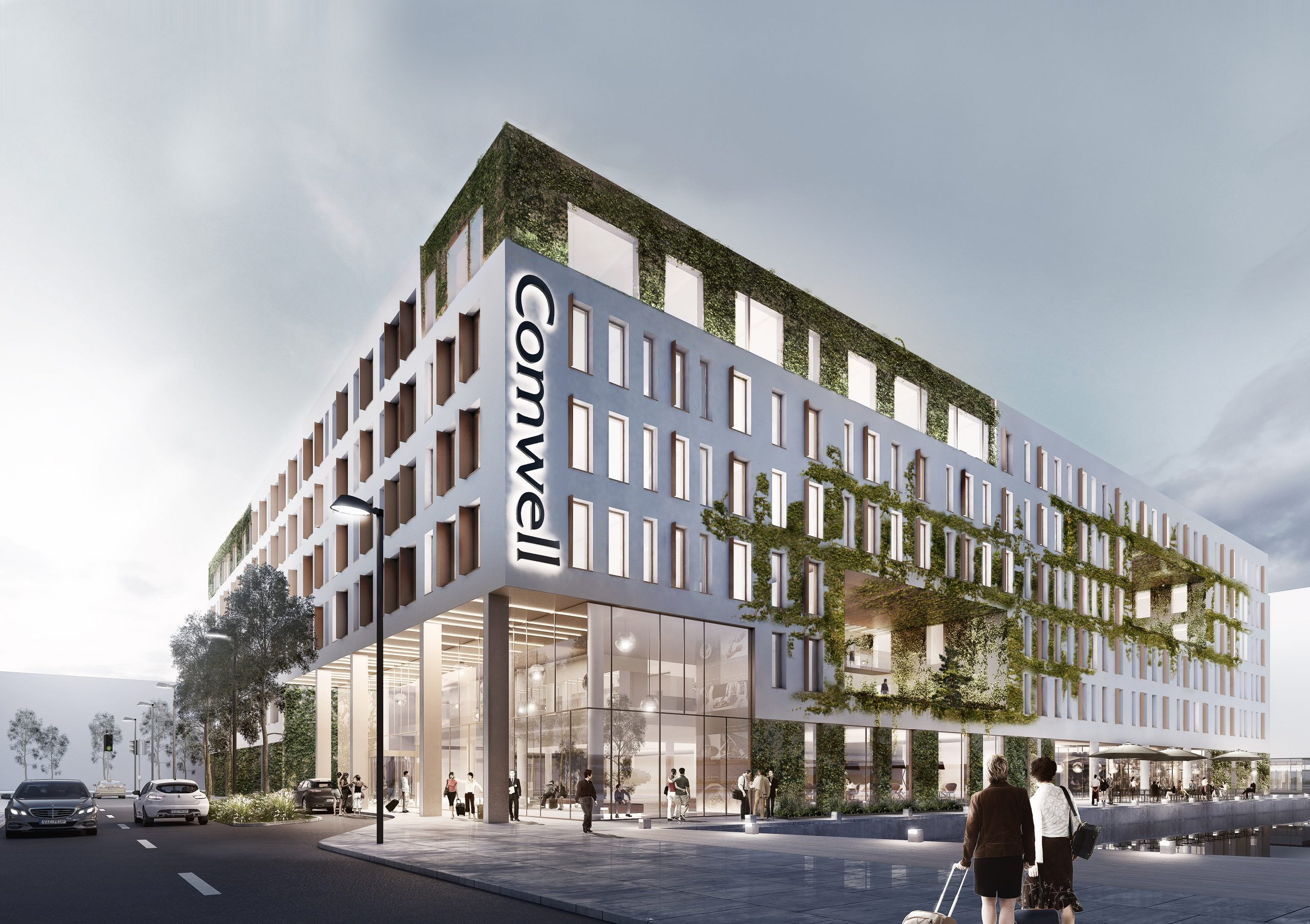 """Til januar næste år åbner Comwell sit største hotel i Danmark og kædens første i København. Comwell Copenhagen Portside bliver """"dobbelt-brandet"""" med også navnet """"Dolce by Wyndham."""" Illustration fra Arkitema Architects."""