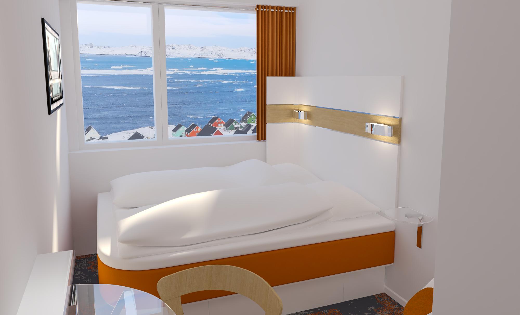 Budgethotellet HHE Express, der åbner i Nuuk sidst på måneden, har 108 værelser med smuk udsigt over den grønlandske natur. PR-foto.