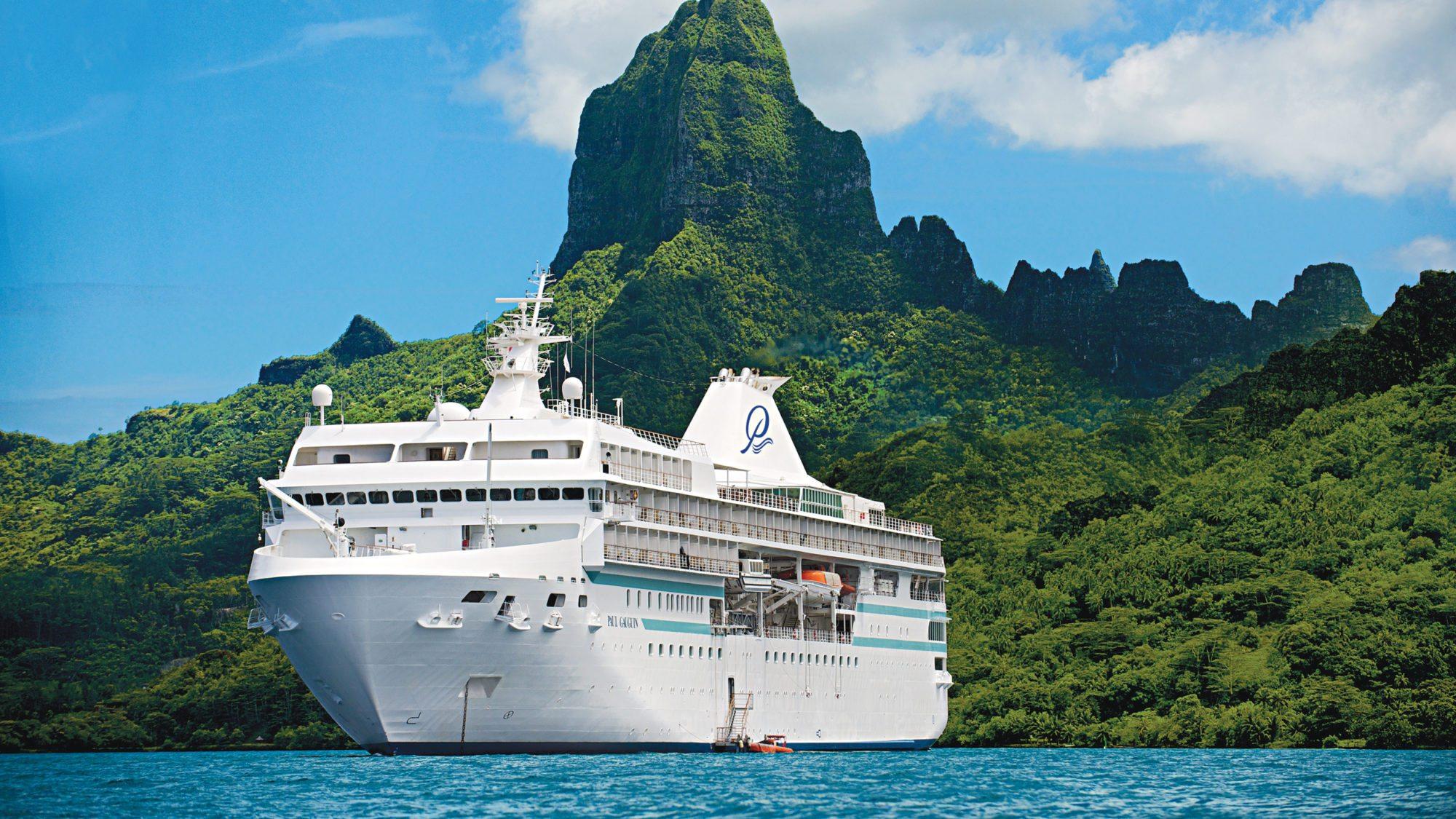 Krydstogtskibet Paul Gauguin med plads til 332 passagerer måtte afbryde et krydstogt i Fransk Polynesien. PR-foto af Paul Gauguin fra rederiet Ponant.