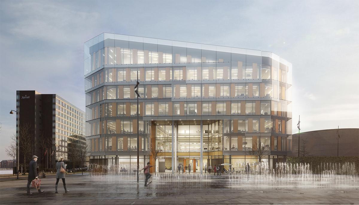 Næste efterår får Scandic-koncernen sit hidtil største hotel, Scandic Spectrum med 632 værelser. Det får blandt andet Copenhagen Marriott, til venstre, som genbo. Illustration via Scandic Hotels: Dissing+Weitling.
