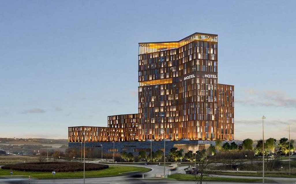 I Skejby ved Aarhus skal der nu opføres et stort Skytower med 375 hotelværelser og hotellejligheder. Visualisering: Cowi/Luplau & Poulsen.