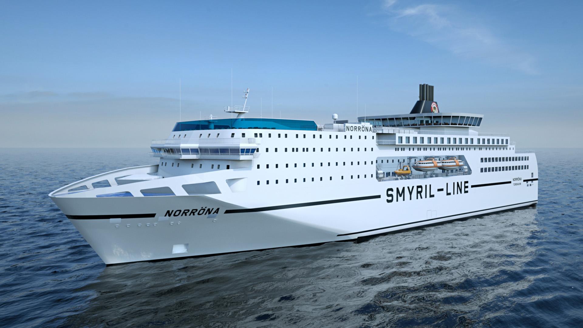 Rederiet Smyril Line vil bruge cirka 100 millioner kroner på en opgradering af sit skib Norröna, der efter tilføjelse af et ekstra dæk kommer til at se cirka sådan ud. Illustration: Smyril Line.