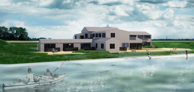 Falder alle tilladelser samt finansieringen på plads, så åbner Samsø Strandhotel om to år. Det skal blandt andet have energi fra vedvarende kilder, byggematerialer med lavt CO2-aftryk og lokale fødevarer. Illustration: Samsø Strandhotel/Domus Arkitekter.