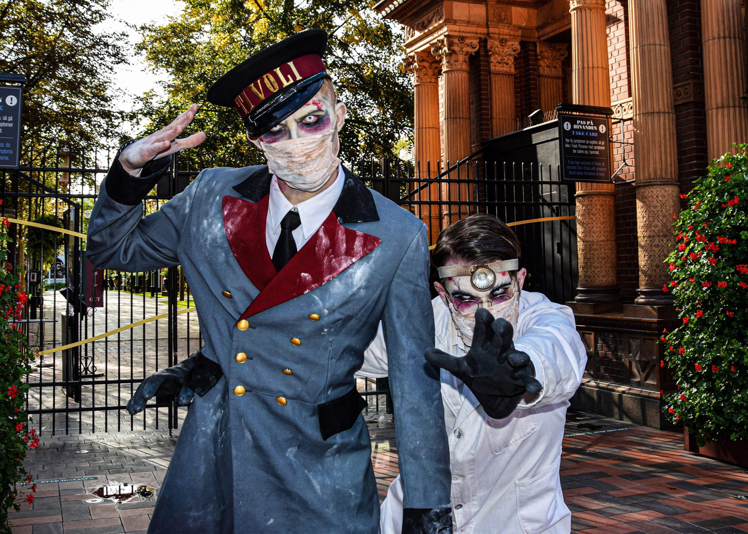 I år har også monstrene mundbind på under Halloween i Tivoli og følger alle coronarestriktioner og anbefalinger i sæsonen fra 9. oktober til 1. november. Pressefoto for Tivoli: Christoffer Sandager.