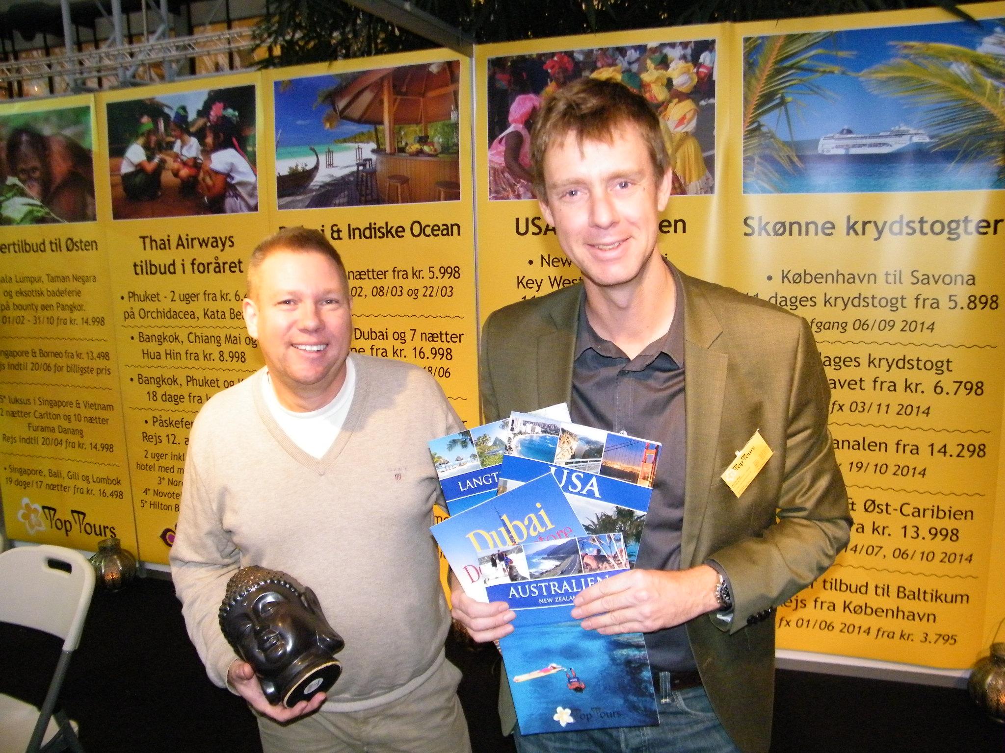 Bjarne Lundahl, til venstre, og Martin Bisp har i snart 20 år været partnere i Top Tours. Nu har Martin Bisp købt sin partner ud og fortsætter rejsebureauet alene. Arkivfoto: Preben Pathuel.
