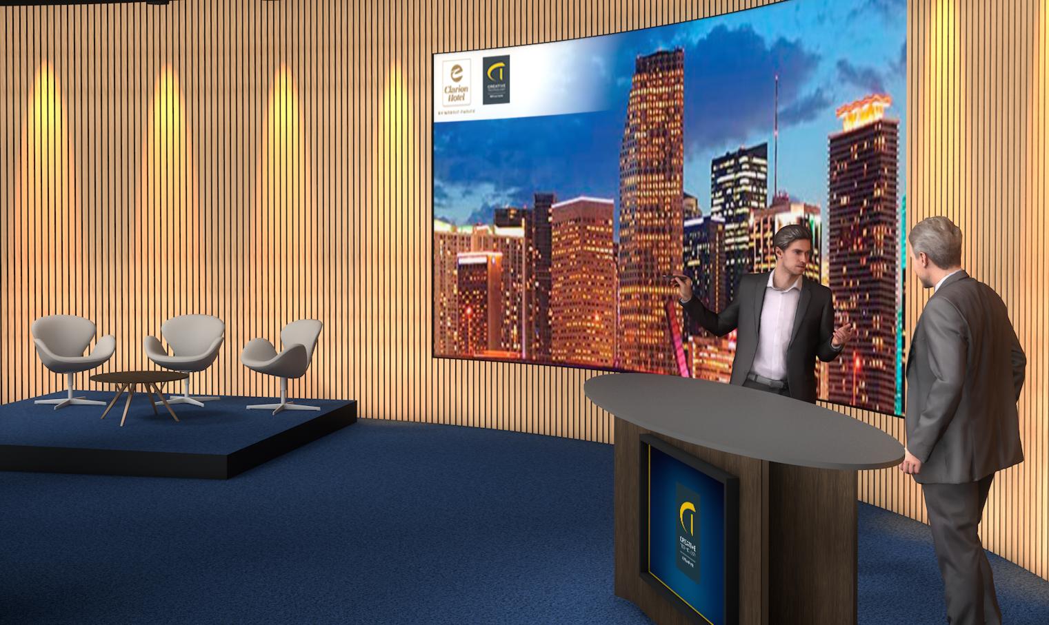 I ballroomet på Clarion Hotel Copenhagen Airport åbner hotellet nu et TV-studie til brug ved onlinemøder. Illustration via Clarion Hotel Copenhagen Airport.