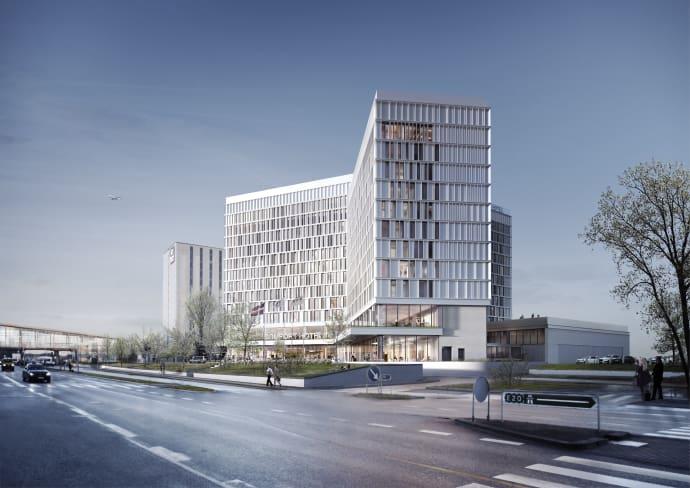 Comfort Hotel Copenhagen Airport bliver med 605 værelser Danmarks femtestørste hotel – og det største på Amager. Tegning: Nordic Choice Hotels.