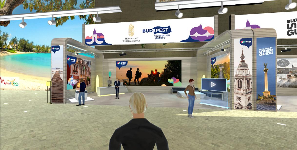 På det virtuelle Nordic Virtual Travel Fair kunne tilmeldte rejsebureauagenter møde 27 leverandører af turismeydelser. Besøget på messen så for eksempel sådan ud. Illustration: Aviareps.