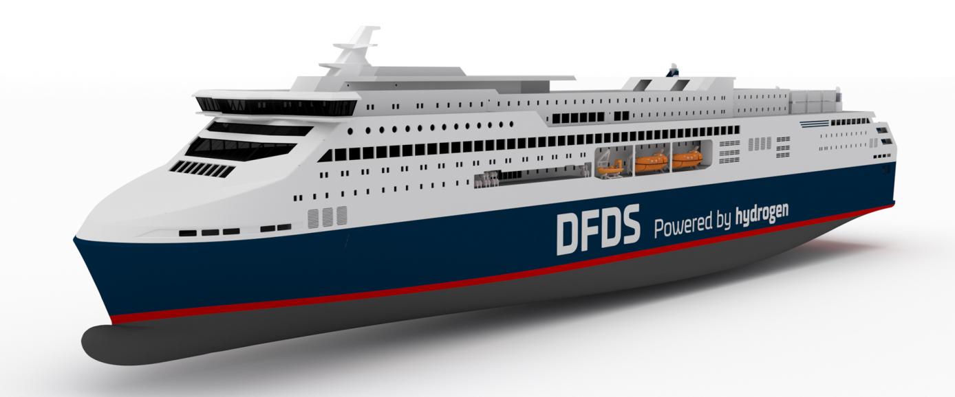 DFDS' planlagte brintdrevne færge til København-Oslo har arbejdsnavnet Europa Seaways. Visualisering: skibsarkitektfirmaet Knud E. Hansen.