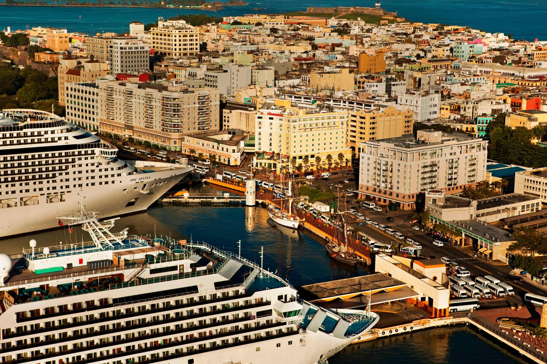 USA er verdens største leverandør af krydstogtgæster og Caribien er verdens største marked for krydstogter; her arkivpressefoto fra Puerto Rico i Caribien: Sheraton Old San Juan Hotel.
