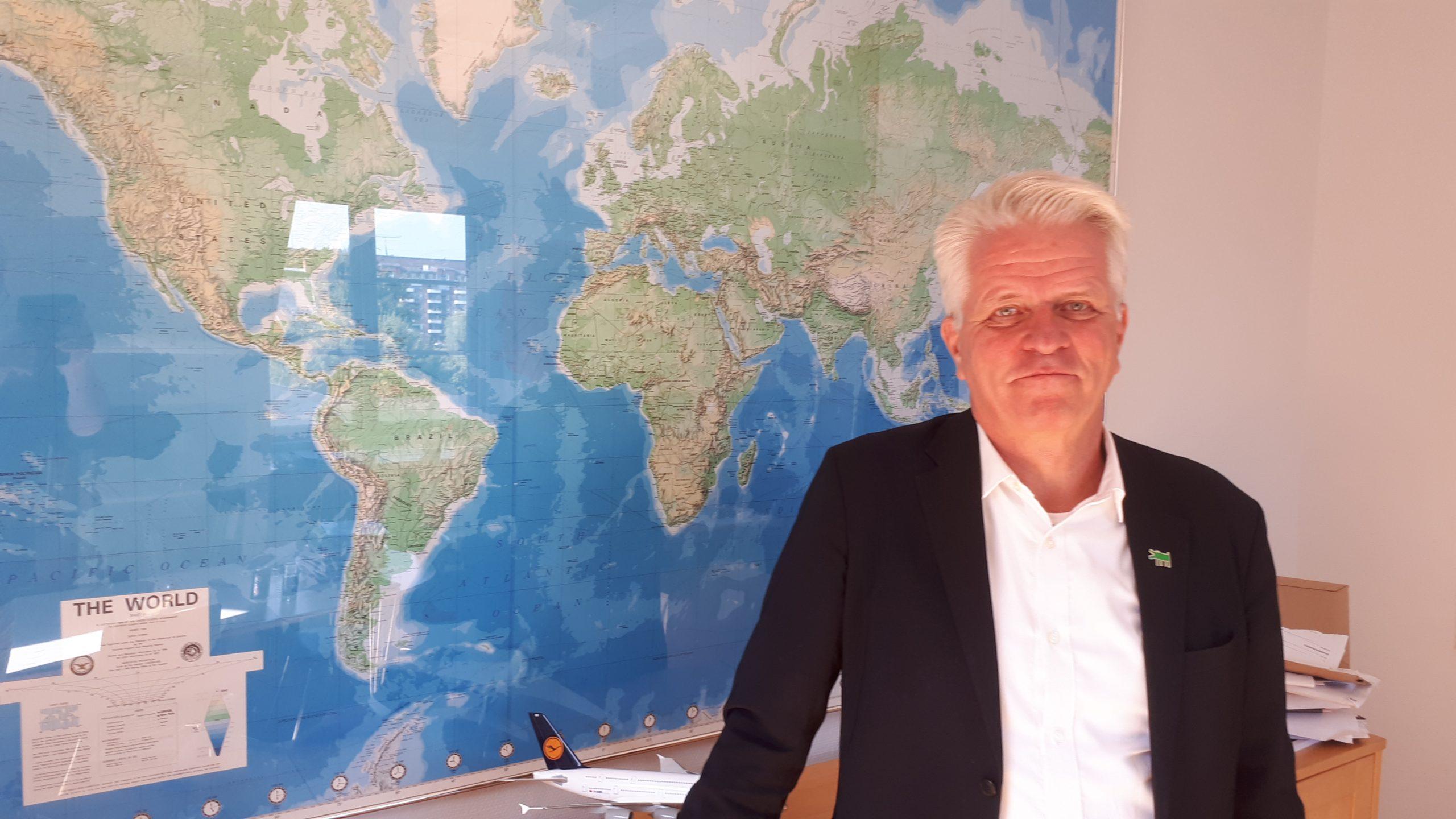 Lars Thykier, administrerende direktør for Danmarks Rejsebureau Forening, er bekymret over nye udtalelser fra socialdemokraternes erhvervsordfører om en mulig ny fremtid for rejsebureauerne i Danmark. Foto: Henrik Baumgarten.