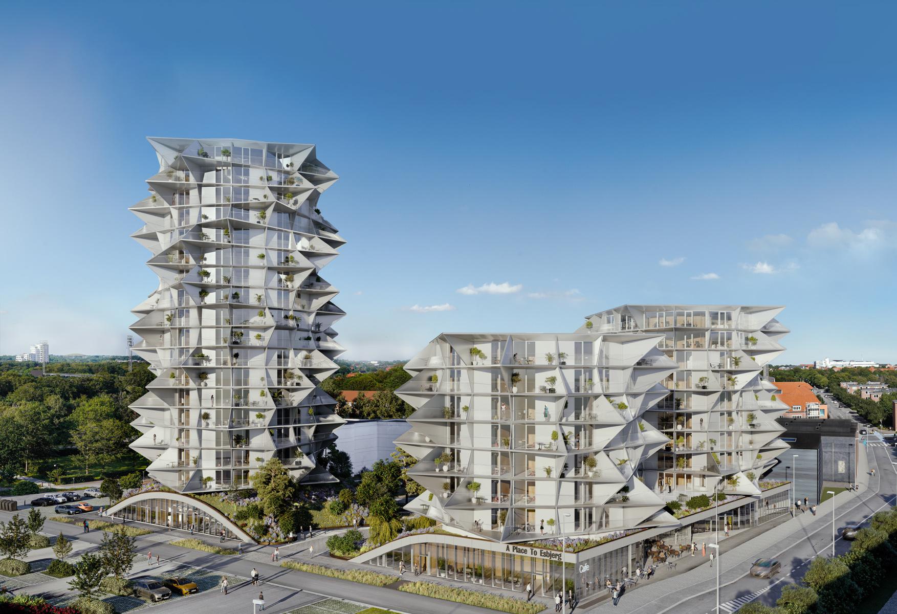 A Place To Esbjerg er på 18.100 kvadratmeter fordelt på tre tårne på 34, 40 og 66 meter med 314 lejligheder og 117 hotelværelser samt blandt andet en restaurant med skybar. Illustration: A Place To.