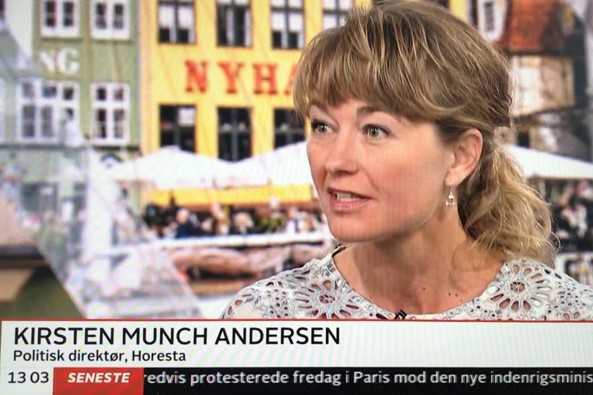 HORESTA's politiske direktør, Kirsten Munch Andersen, er i denne tid brancheforeningens primære ansigt udadtil. Her er hun på TV 2 News.