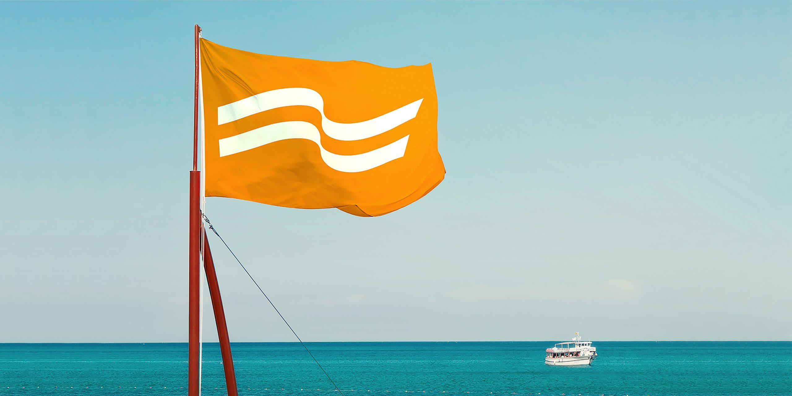 De to bølger er det nye logo for Nordic Leisure Travel Group med blandt andet Spies. Illustration: NLTG.