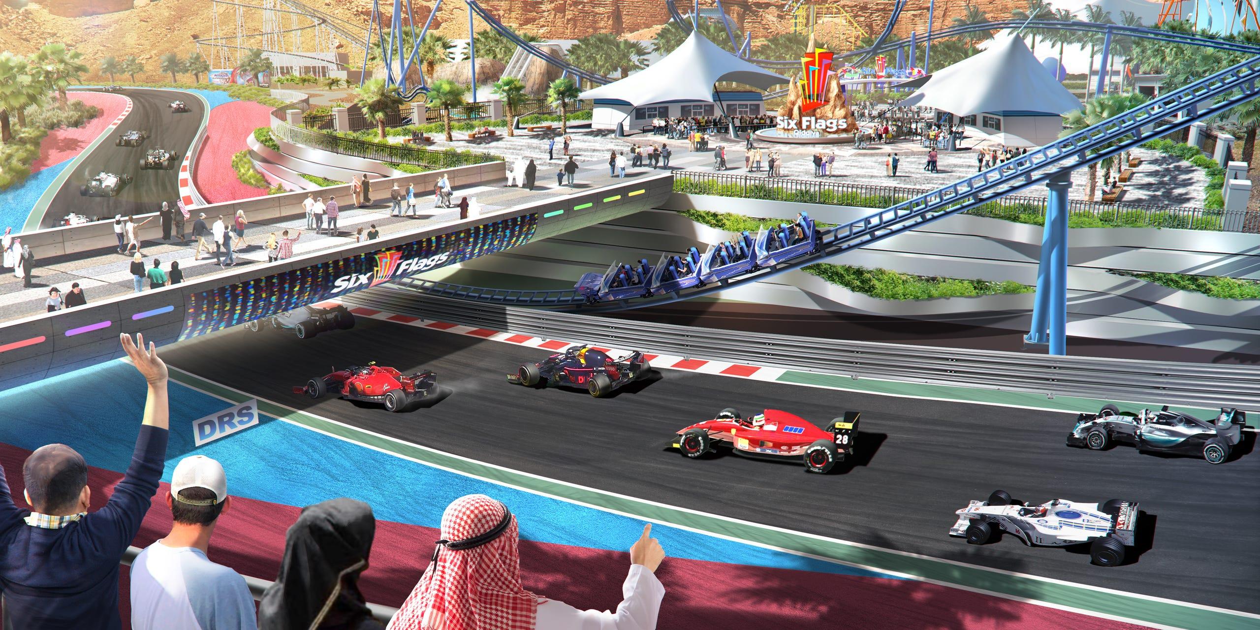 Six Flags Qiddiya's hurtigste attraktioner bliver rutsjebanen Falcon's Flight, der under den fire kilometer lange tur når hastigheder på omkring 250 kilometer i timen. PR-illustration.