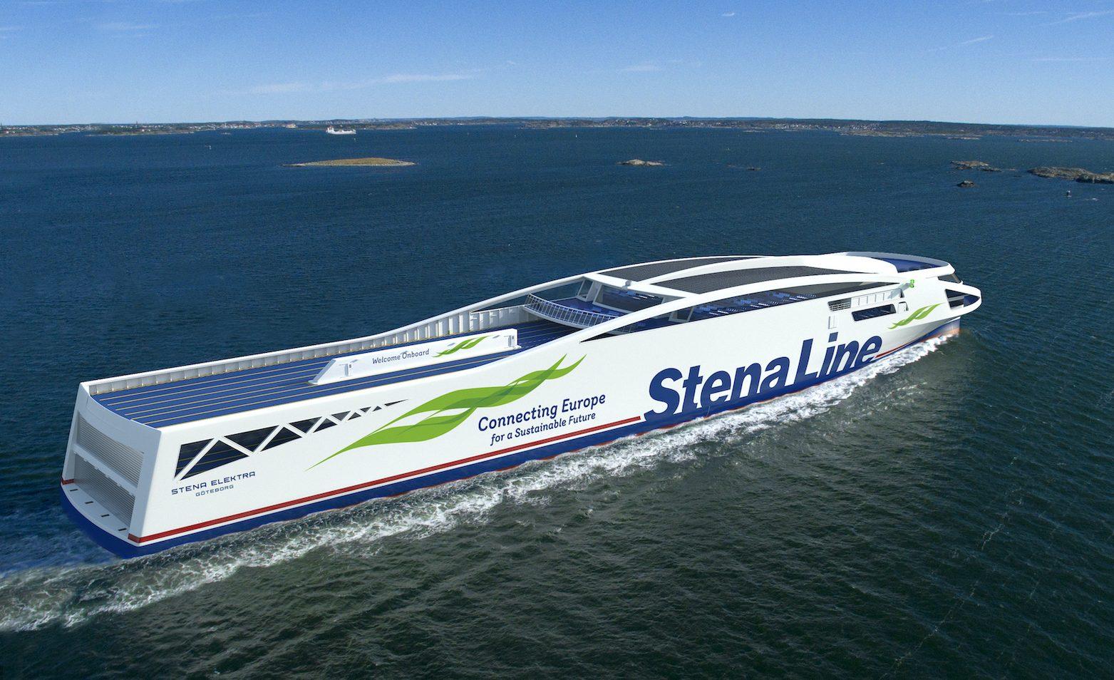 Stena Elektra bliver ifølge Stena Line verdens første fossilfrie RoPax-fartøj i sin størrelse. Skibet bliver omkring 200 meter langt og får passagerkapacitet på 1.000 samt 3.000 banemeter til for eksempel biler og lastbiler. PR-illustration fra Stena Line.